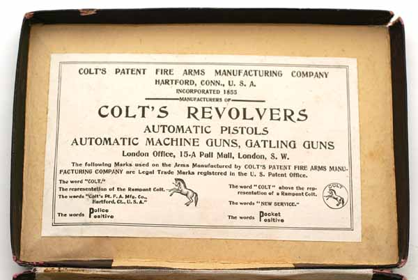 Inside box label for the Type II references Automatic Pistols, Automatic Machine Guns and Gatling Guns as well as the London Office at 15-A Pall Mall, London S.W.