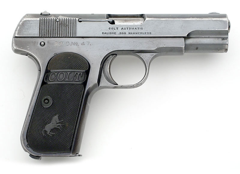 Colt 1908 Pocket Hammerless .380 ACP factry inscribed B.P.D. No. 47 purchased by the Binghamton, NY Police.